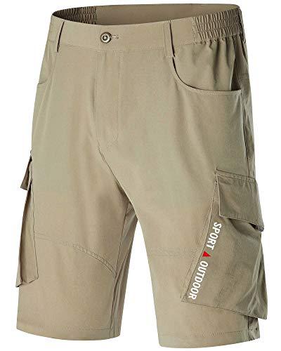 Mens Khaki Shorts Elastic Waist Cargo Big and Tall Shorts Quick Dry Camping Shorts Hiking Shorts Travel Shorts Golf Shorts