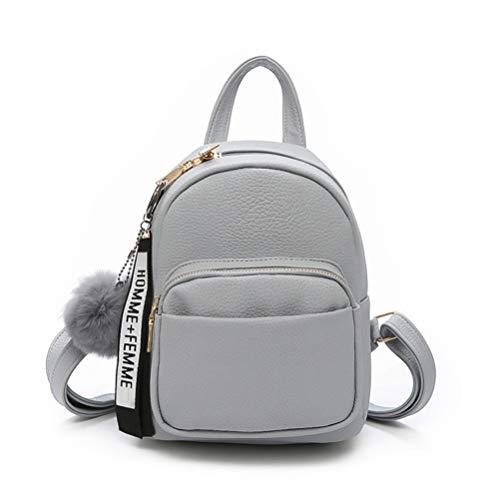 Katech Rucksack Damen Schultertasche Casual wasserdichte Schultasche Daypack Damen Kleinen Rucksack Mädchen Schultaschen Handtasche mit Pom Pom Ball (Grau)