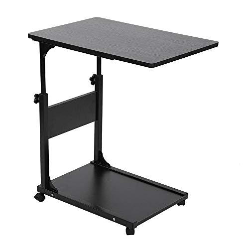 EBTOOLS Pflegetisch, 2-schichtig Verstellbarer Laptop-Tisch Rolltisch Sofatisch Beistelltisch mit Rollen, 50 * 35 * 55-80cm (Schwarz)