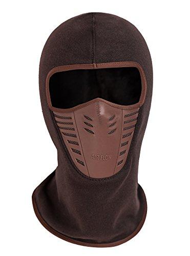 Zerd Winter Fleece Warm Full Face Cover Anti-dust Balaclava Windproof Ski Mask Hat Red Brown