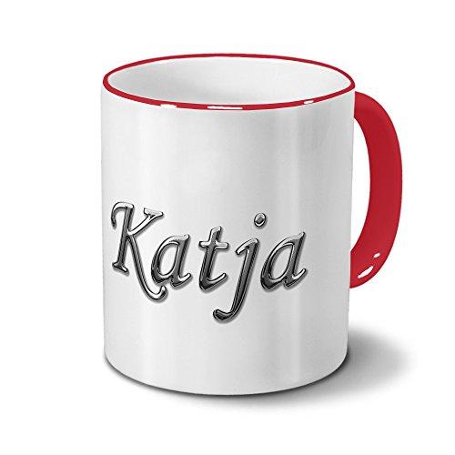 Tasse mit Namen Katja - Motiv Chrom-Schriftzug - Namenstasse, Kaffeebecher, Mug, Becher, Kaffeetasse - Farbe Rot