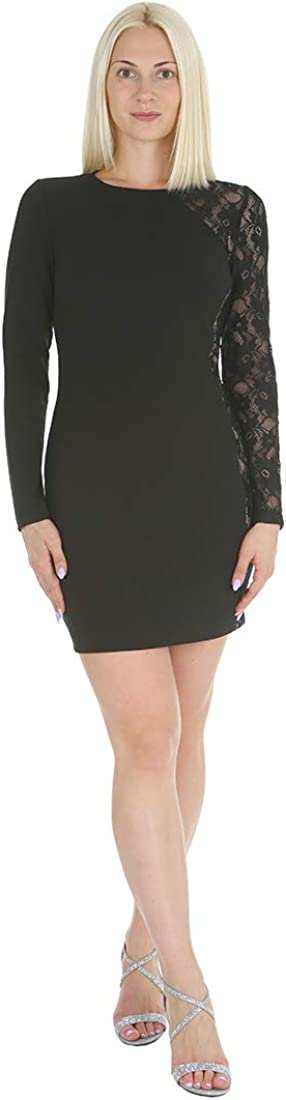 bebe Women's Long Sleeve with Lace Insert Bodycon Crepe Dress