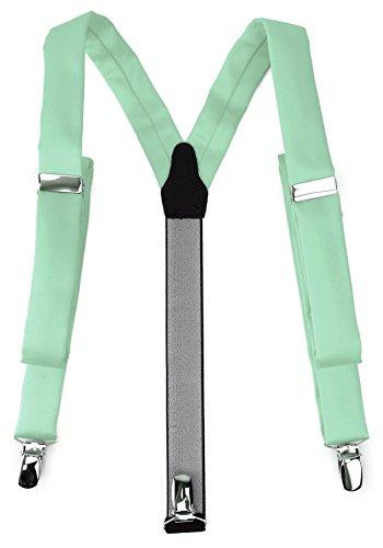 TigerTie schmaler Unisex Hosenträger in Y-Form mit 3 extra starken Clips - Farbe in mint einfarbig Uni - hochwertige Verarbeitung