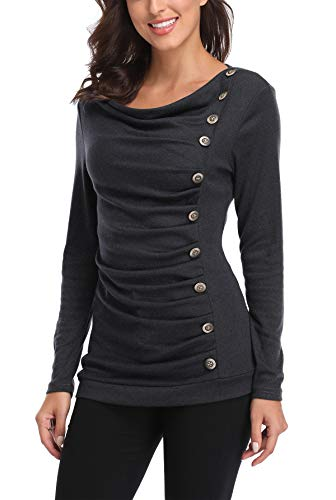 MISS MOLY Damen Langarmshirt Pullover Tunika Bluse T Shirt mit Knöpfen Dunkel Grau Small