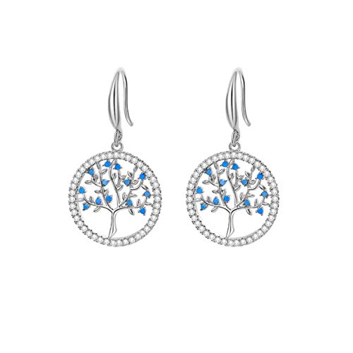 SALAN Fashion Exquisite Cubic Zirconia Hollow Tree Of Life Drop Earrings For Women Accessories Color Elegant Jewelry