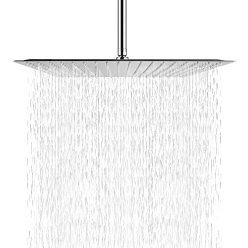 12 Inch Rainfall Shower Head - Sarlai Solid Square Ultra Thin 304 Stainless Steel Brushed Nickel 12 Inch Rain Shower Head,Waterfall Full Body Coverage with Silicone Nozzle