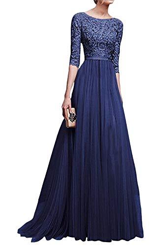 Minetom Donna Chiffon Vestito Lungo Abito Da Cerimonia Elegante Vestiti Da Matrimonio Lunghi Vestito Formale Banchetto Sera Blu IT 50