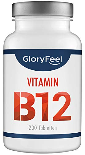 Vitamin B12 Hochdosiert 1000mcg Tabletten - 200 Stück (13 Monate) - Reines Vitamin B12 Methylcobalamin zur Verringerung von Müdigkeit und Ermüdung* - Laborgeprüft und hergestellt in Deutschland