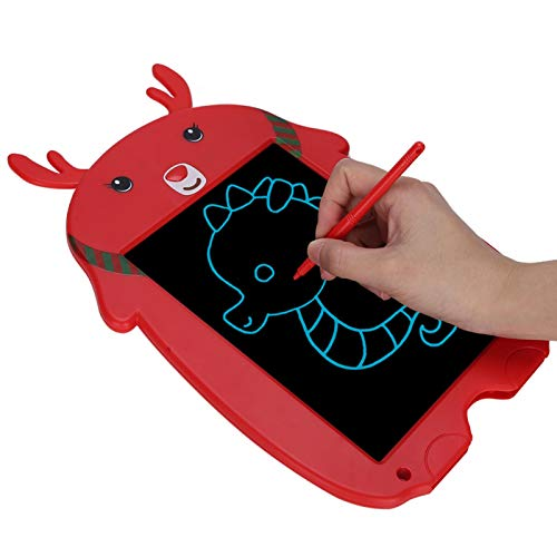 Yeelur Forma de Ciervo de Dibujos Animados electrónico de una tecla Que borra la protección Ocular borrable Tablero de Dibujo para niños, Almohadilla de Escritura para niños, para Escritura de