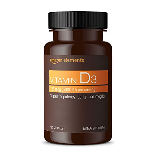 Amazon Elements Vitamin D3, 5000 IU, 180 Softgels, 6 month supply (Packaging may vary), Supports Strong Bones and Immune Health