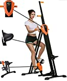Mauccau Folding Exercise Step Machine & Indoor Vertical Climber - Home Gym, Total Body Workout Vertical Climber Machine,Training Hip Grips Legs Arms Abs Calf (Yellow)