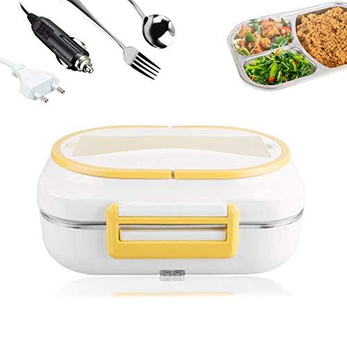 Elektrische Thermo-Bento-Box, Elektrische Heizung Lunchbox, 2 in 1Lebensmittel-Heizung mit Löffel,Abnehmbarer Edelstahl-Lebensmittelbehälter-12V/220V,für Auto,Zuhause und Arbeit(Gelb)