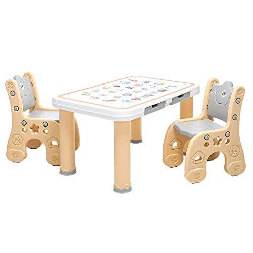 Les Enfants étudient Table Table à la Maison et Deux chaises Jouets Chambre des Enfants Apprendre à écrire Table de Jeu Peut Supporter 250 kg de Poids (Color : Champagne)
