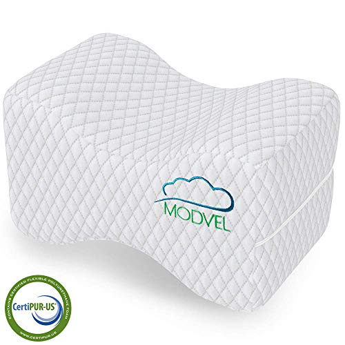 MODVEL Orthopedic Knee Pillow | Memory Foam Cushion For Hip, Sciatica & Lower Back Pain Relief | Provides Support & Comfort | Breathable & Washable | Between-The-Legs Pregnancy (MV-104), White