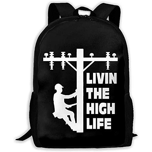 Kimi-Shop Mochila Unisex para Adultos The High Life Lineman Line Worker Bookbag Mochila de Viaje Mochilas Escolares Bolsa para computadora portátil para Hombres y Mujeres