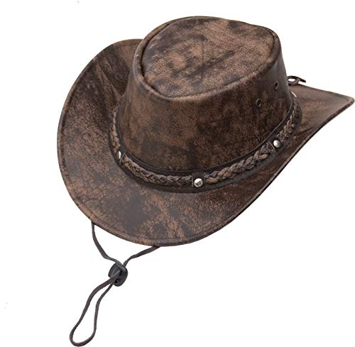Leather Hat by Wombat Leather Cowboy New OUTBACK Soft Brown Aussie Bush Hat