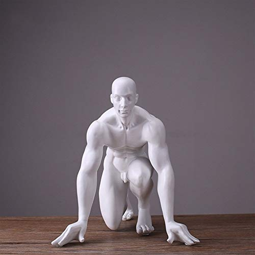 WXQ-XQ Resin Crafts Nordic Style Ornaments Creative Office Decoration Art Human Body Starting Victory Sculpture Business Gifts (Size : White 24×26×28cm)