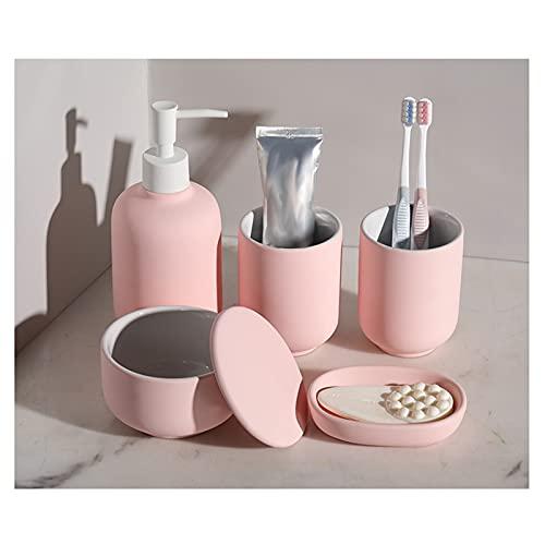 dispensador de jabón Dispensador de jabón de 5 piezas de cerámica Dormitorio doméstico Dormitorio del hogar Suministros de baño Conjunto de botella / taza de enjuague bucal / Tanque de almacenamiento