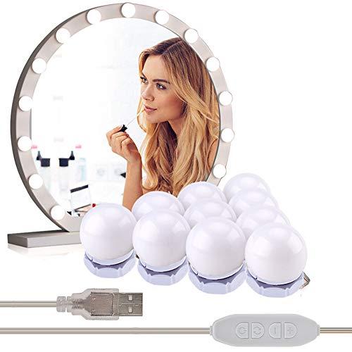 BOVER BEAUTY 1Set Spiegelleuchten mit 10 dimmbare LED-Lampen, USB-Kabel Hollywood Spiegelleuchten Make-up-Leuchten für Frisierkommode (Versteckt Take-up-Stil)
