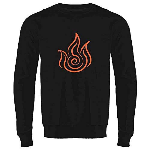 Fire Symbol Element Japanese Anime Black L Crewneck Sweatshirt for Men