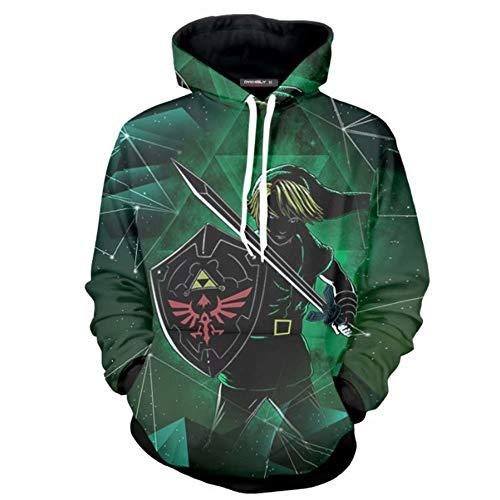 COMING Zelda Cosplay Kostüm Breath of The Wild Link Hoodie Sweatershirt Herren Halloween Reißverschluss Jacke Jacke (X-Large,Color 10)