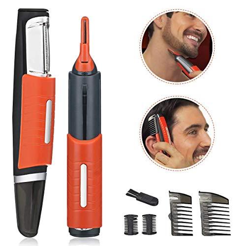 Switchblade Hair Trimmer, Hair Touch Razor Cortador Pelos Nariz y Orejas Bateria, 2 en 1 Mango Antideslizante con luz LED2pcs