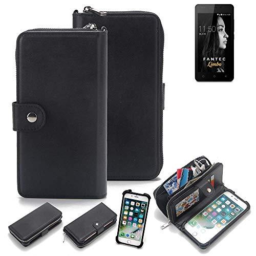 K-S-Trade 2in1 Handyhülle Für FANTEC Limbo Schutzhülle und Portemonnee Schutzhülle Tasche Handytasche Hülle Etui Geldbörse Wallet Bookstyle Hülle Schwarz (1x)