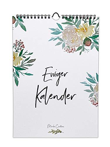 Ewiger Geburtstagskalender, Aquarell, DIN A4, Immerwährend und jahresunabhängig, Floraler Jahreskalender für Notizen, wiederkehrende Termine oder Geburtstage