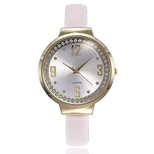 Uhren Damenuhren Watches Armbanduhren WatchFrauen Strass Uhr Mode Leder Weiblichen Kleid Quarz Armbanduhren Uhr- Weiß