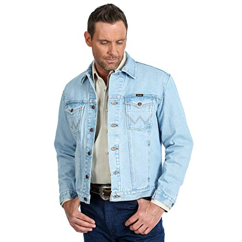 Wrangler Men's Western Style Unlined Denim Jacket, Gold buckley Bleach, Small