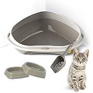 Grey Large Corner Cat Litter Tray Bundle + 2 Grey Smarty Bowls 0.2L + Grey Scoop - Cat Hygeine Toile...