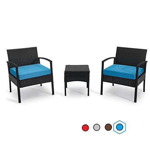 GREARDEN Patio 3 Pieces PE Rattan Wicker Chair Set, Garden Rattan Wicker Furniture Set Outdoor Indoor, 3 PCS Conversation Sets with Coffee Table for Balcony Backyard (Blue)