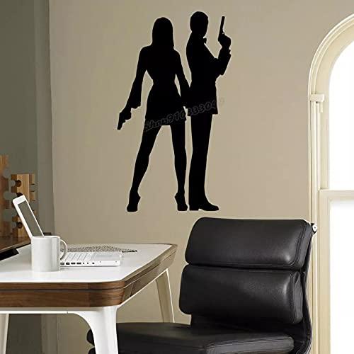 Etiqueta de la pared del agente de la silueta etiqueta de la pared del vinilo, adecuada para la decoración del hogar idea de la habitación decoración de interiores papel tapiz 32x18cm