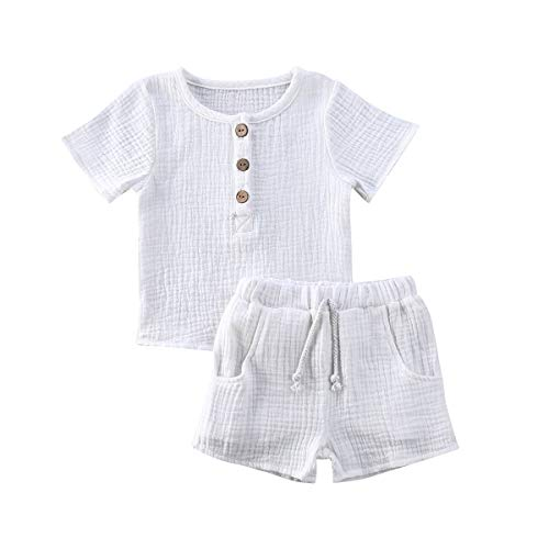 Toddler Baby Boy Girl Clothes Solid Linen Short Sleeve T-Shirt Tops Shorts Pants Unisex 2Pcs Summer Outfits Set (A-White, 12-24Months)