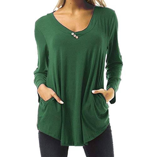 Best Bargain Lovor Women's Plus Size Basic Blouses Casual Loose Long Sleeve Button T Shirt V Neck Tu...