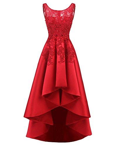 ZongSen Donna Vestiti da Sera Cerimonia Eleganti Vestitini Girocollo Abito Orlare Asimmetrico Lunghi Slim Fit Cocktail Formale Vestito Rosso 5XL