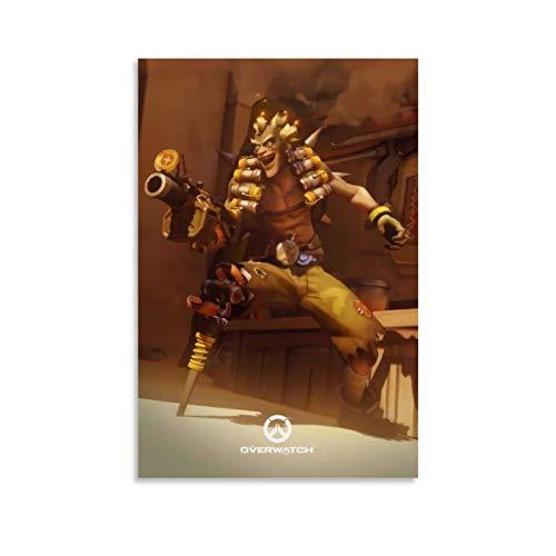 DRAGON VINES Póster de Overwatch Junkrat y listo para colgar para decoración del hogar, decoración de pared, 40 x 60 cm