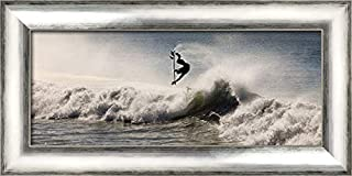 ArtDirect Super Surfer 24x12 Silver Contemporary Wood Framed Canvas Art by Anonymous