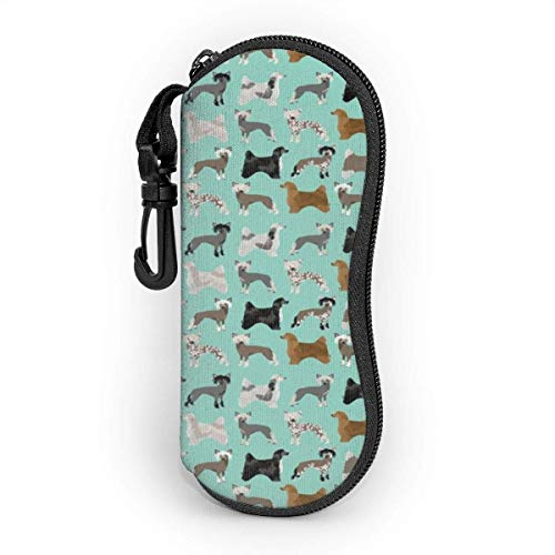 Estuche para gafas con mosquetón, perros con cresta chinos y perros en polvo, ultra ligero, portátil, con cremallera de neopreno.