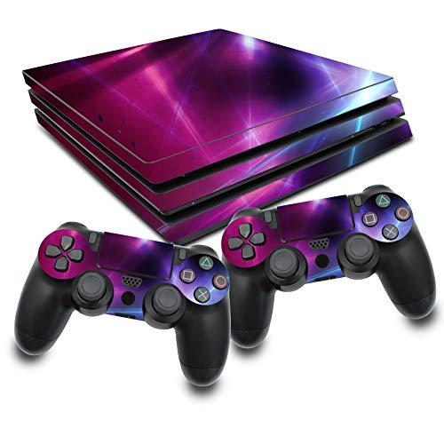 Folia ochronna, zestaw naklejek na konsolę do gier i kontrolera, winylowa, chroni przed zarysowaniem, idealnie dopasowana folia samoprzylepna, RX022 (PS4 Pro, nr 16 Abstrakt Lines)