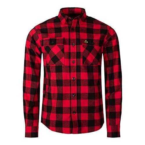 Garphyttan Fixar Carpenter Shirt Hemd Herren Langlebiges Baumwoll Flannel-Hemd für Outdoor Wandern Trekking Camping - XL, Rot