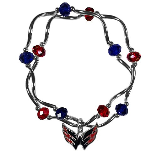 NHL Siskiyou Sports Womens Washington Capitals Crystal Bead Bracelet One Size Team Color