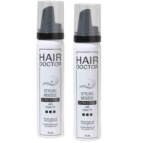 HAIR DOCTOR Styling Mousse Extra Strong - Professioneller Schaumfestiger pflegend mit Argan Öl, 2er Pack (2 x 75 ml)