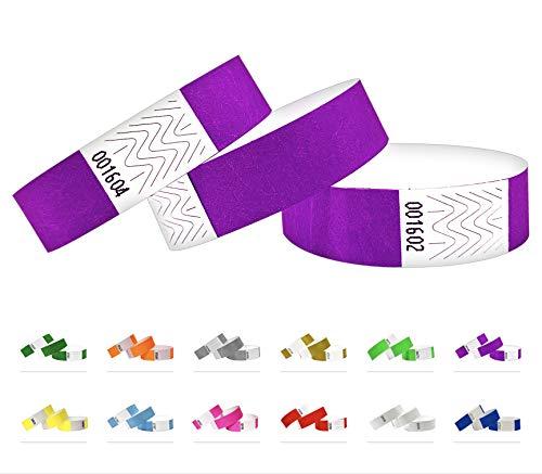 500 pezzi - 19 mm 3/4' Tyvek Wristbands, Tyvek Braccialetti, Tyvek Bracciali, Festival Braccialetti, Night-Club Braccialetti (Viola, 500 Pack)