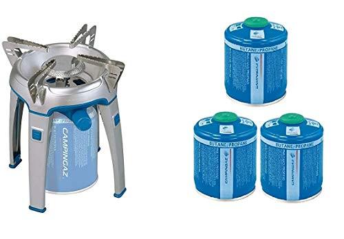 ALTIGASI Bivouac Réchaud à gaz Campingaz, puissance 2600 W, avec sac de transport, système cartouche amovible + 3 cartouches à gaz CV300 de 240 g