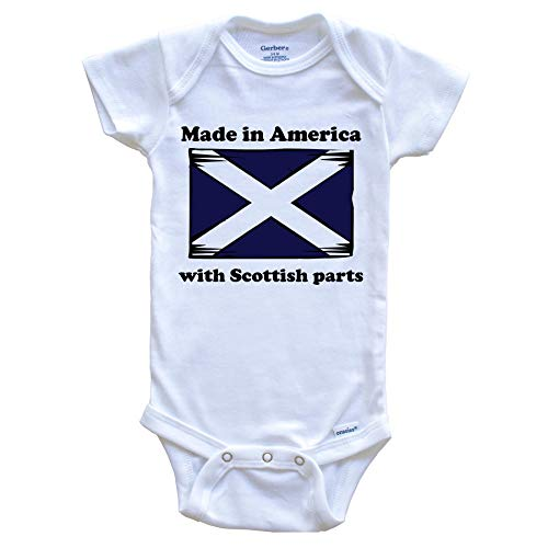 Made in America with Scottish Parts Funny Scotland Flag Baby Onesie, 0-3 Months White
