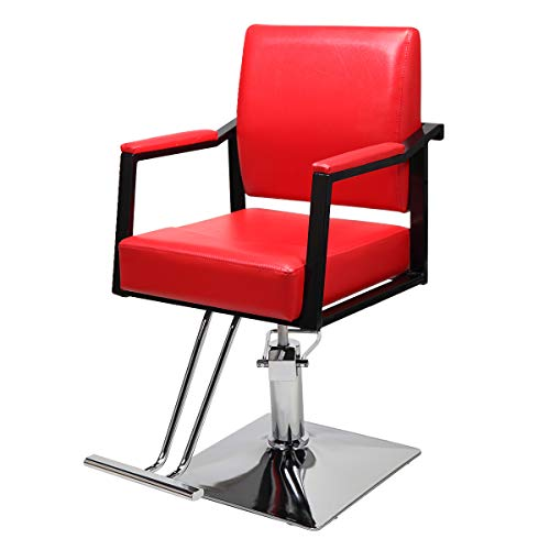 Classic Hydraulic Barber Chairs, All Purpose Hair Salon Chairs with Heavy Duty Hydraulic Pump Barber Beauty Salon Spa Equipment 360 Degrees Red