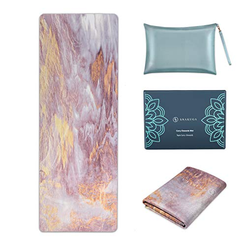 SNΛKUGΛ Travel Yoga Mat Foldable, 1/16 Inch Thin Non Slip Yoga Mat Lightweight, Carrying Bag, Eco Friendly Natural Rubber & Suede, Portable Fitness & Exercise Mat 72'L x 26'W x 1.5mm, Pink Clouds