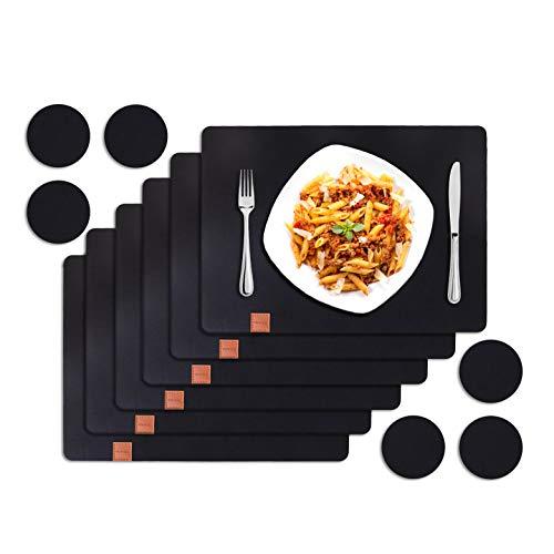 Vamoa Platzset Filz - 6er Tischset mit Platzdeckchen für Teller (eckig) und Untersetzer (rund) aus hochwertigem Filz mit Anti-Rutsch-Beschichtung
