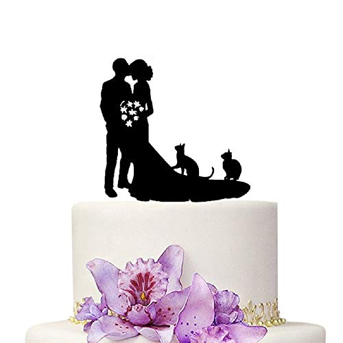 Wedding Cake Toppers Bride and Groom With Cats Animal Black Color Acrylic Silhouette Wedding Party Engagement Decoration